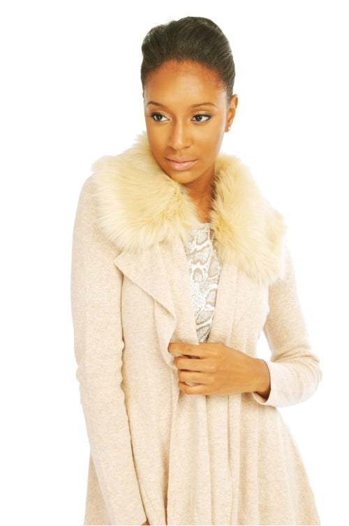 MY TRIBE FUR COLLAR CARDIGAN