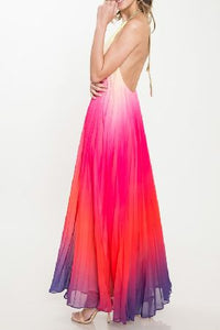 PLEATED OMBRÉ HALTER MAXI DRESS