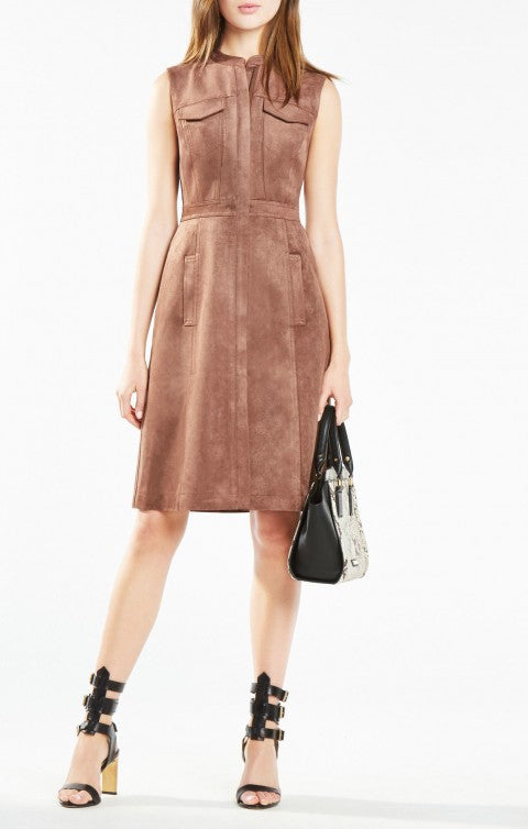 BCBG ALLEXANDRIA FAUX-SUEDE DRESS