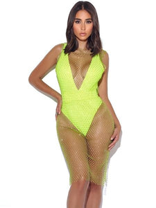 SHANNON DIAMOND CRYSTAL FISHNET COVER UP
