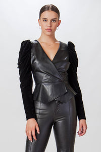 FAUX LEATHER AND VELVET PEPLUM TOP
