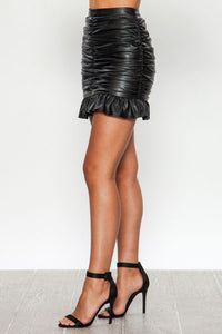 FAUX LEATHER GATHERED RUFFLE MINI SKIRT