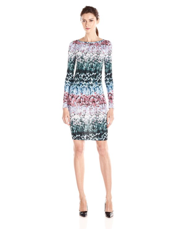 BCBG VOLETTA FEATHER OMBRE DRESS