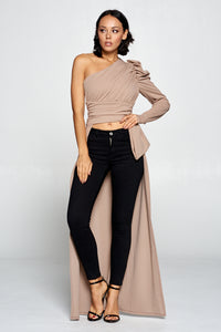 DRAMATIC ONE SLEEVE HIGH-LOW TOP