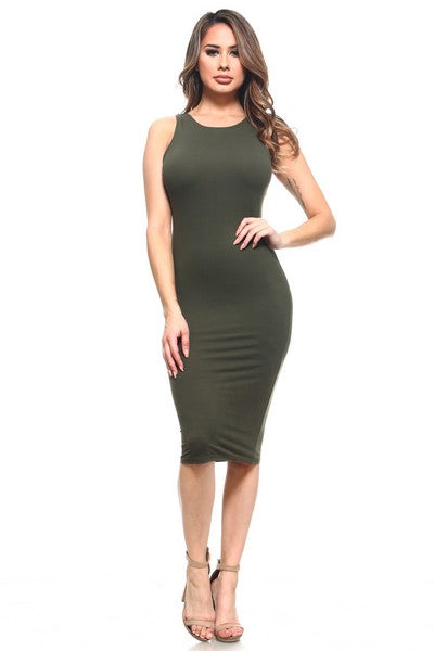 BASIC BODYCON MIDI TANK DRESS