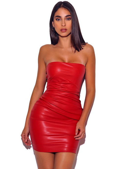 YASHIRA RED LEATHER STRAPLESS DRESS