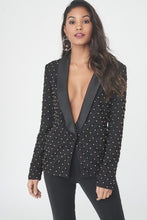 Load image into Gallery viewer, LAVISH ALICE LATTICED PLEATED BEADED TUXEDO JACKET
