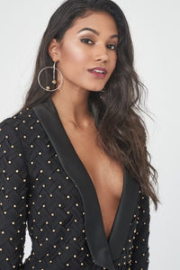LAVISH ALICE LATTICED PLEATED BEADED TUXEDO JACKET
