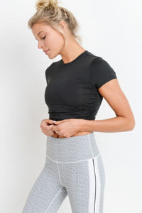 RUCHED SIDE CROP TOP BLACK
