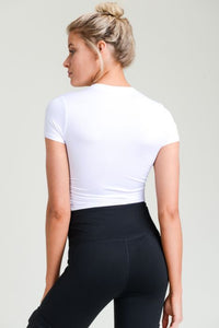 RUCHED SIDE CROP TOP WHITE