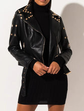 Load image into Gallery viewer, STAR AND STUDDED FAUX LEATHER MOTO JACKET