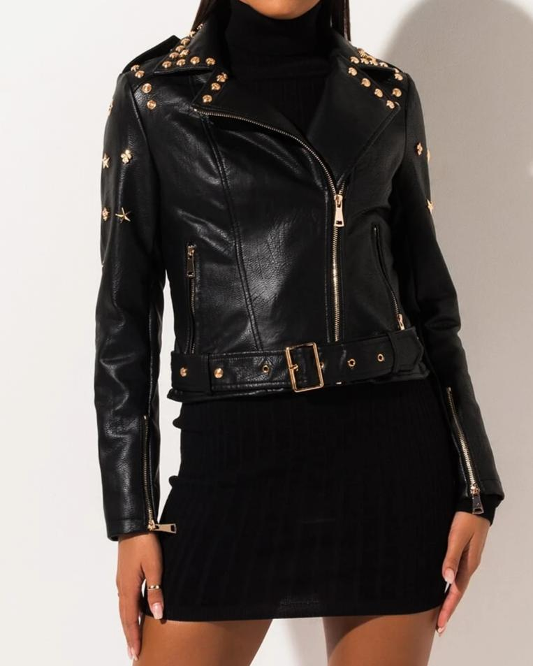 STAR AND STUDDED FAUX LEATHER MOTO JACKET