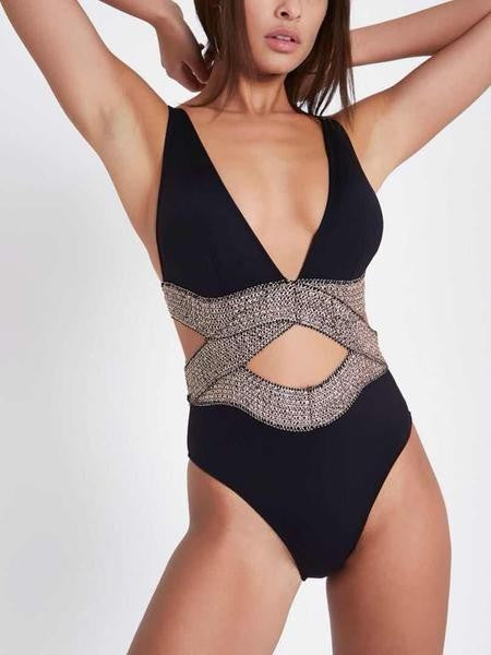 BLACK METALLIC ELASTIC PLUNGE SWIMSUIT
