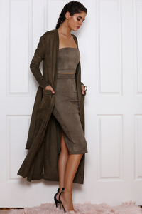 BROOKLYN FAUX SUEDE DUSTER