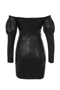 KABIRA BLACK VEGAN LEATHER PUFF SLEEVE DRESS
