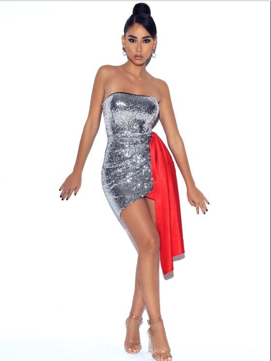 SENORITA SEQUIN SATIN DRAPED DRESS