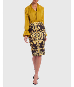 FOREVER UNIQUE BLOUSE AND BAROQUE MIDI SKIRT SET