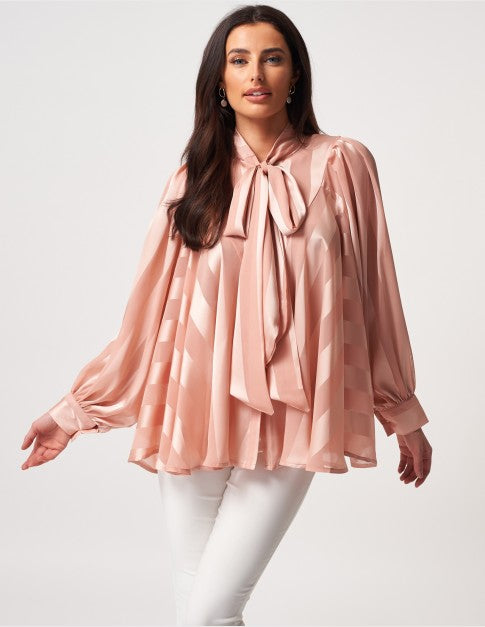 FOREVER UNIQUE CHIFFON STRIPED PUSSYBOW BLOUSE