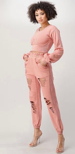 FRENCH TERRY CORSET JOGGER PANT SET