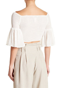 OFF THE SHOULDER SMOCK CROP TOP