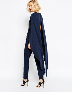 LAVISH ALICE MAXI OVERLAY CAPE JUMPSUIT