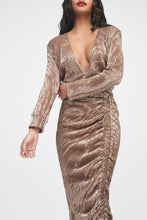 Load image into Gallery viewer, PLEATED SEQUIN RUCHED SIDE MIDI DRESS