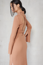 Load image into Gallery viewer, LAVISH ALICE KNIT OPEN BACK MIDI DRESS