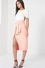 Load image into Gallery viewer, LAVISH ALICE TIE FRONT ASYMMETRIC WRAP MIDI SKIRT