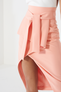 LAVISH ALICE TIE FRONT ASYMMETRIC WRAP MIDI SKIRT