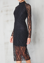 Load image into Gallery viewer, LAVISH ALICE CROSS HATCH HIGH NECK MIDI DRESS