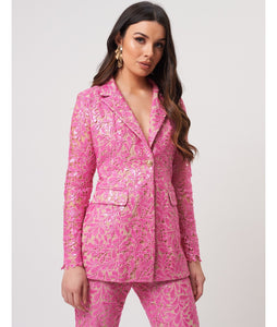FOREVER UNIQUE KIMBERLEY FLORAL LACE SEQUIN SUIT JACKET