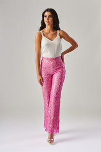 FOREVER UNIQUE LANA FLORAL LACE SEQUIN TROUSERS