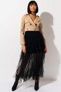 TULLE MAXI TRENCH COAT DRESS