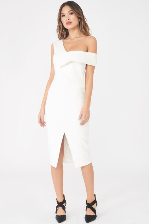 LAVISH ALICE ORIGAMI FOLDED MIDI DRESS