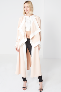 LAVISH ALICE SASH TIE WATERFALL COAT WITH CONTRAST HEM