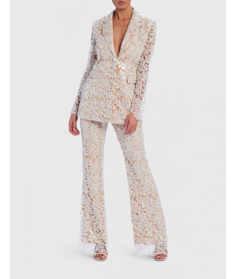 FOREVER UNIQUE SERENA FLORAL SEQUIN SHEER BLAZER JACKET