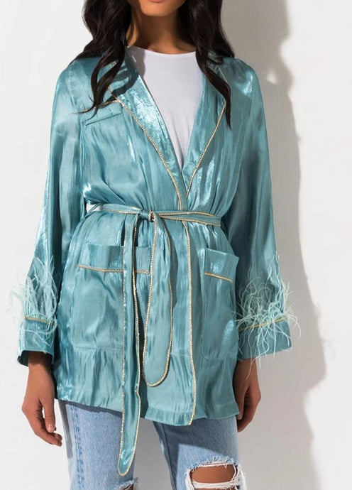 FEATHER CARDIGAN ROBE