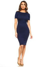 Load image into Gallery viewer, BASIC BODYCON MIDI DRESS NAVY