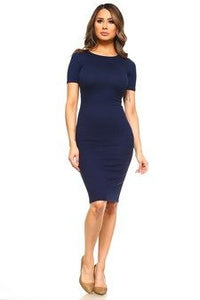 BASIC BODYCON MIDI DRESS NAVY