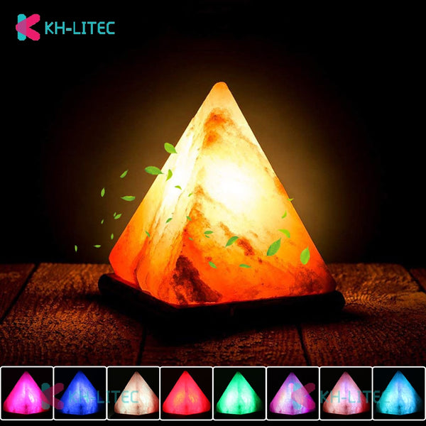 Triangle USB lampe à sel sculpté à la main Base en bois himalayen coloré cristal naturel