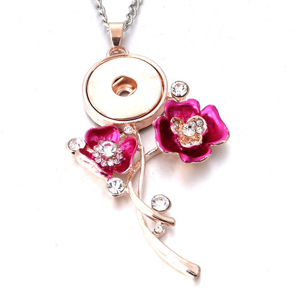 Rose Fleur Snap Bouton Colliers