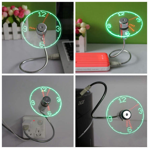 usb fan colorful clock display