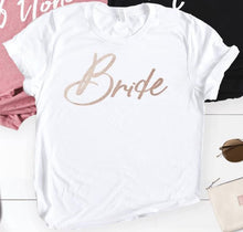 Load image into Gallery viewer, Bridal Tshirt Summer Short Sleeve Gold Printed