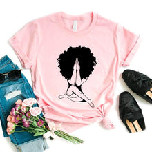 Load image into Gallery viewer, Afro woman Praying Print Women tshirt Cotton Casual