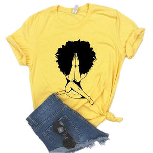 Afro woman Praying Print Women tshirt Cotton Casual