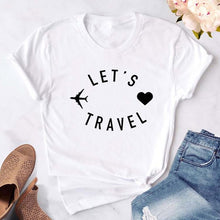 Load image into Gallery viewer, Let's travel Women t shirt Funny Casual Short Sleeve