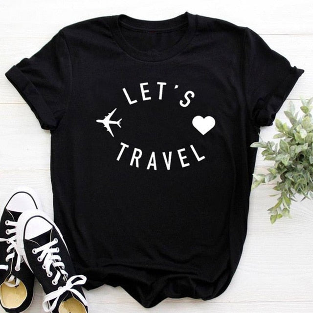 Let's travel Women t shirt Funny Casual Short Sleeve
