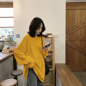Autumn Solid Simple oversized tshirt