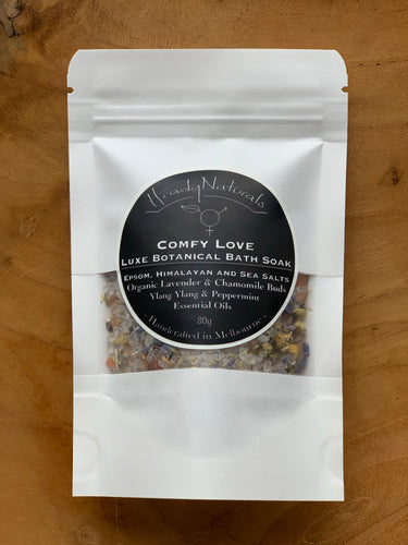COMFY LOVE LUXE BOTANICAL BATH SOAK | with Organic Lavender and Chamomile Flowers (80g)