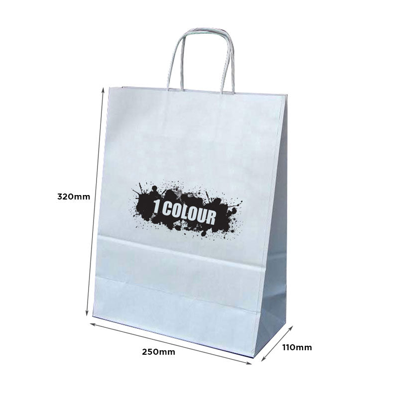 A4 Twist Handle White Paper Bags